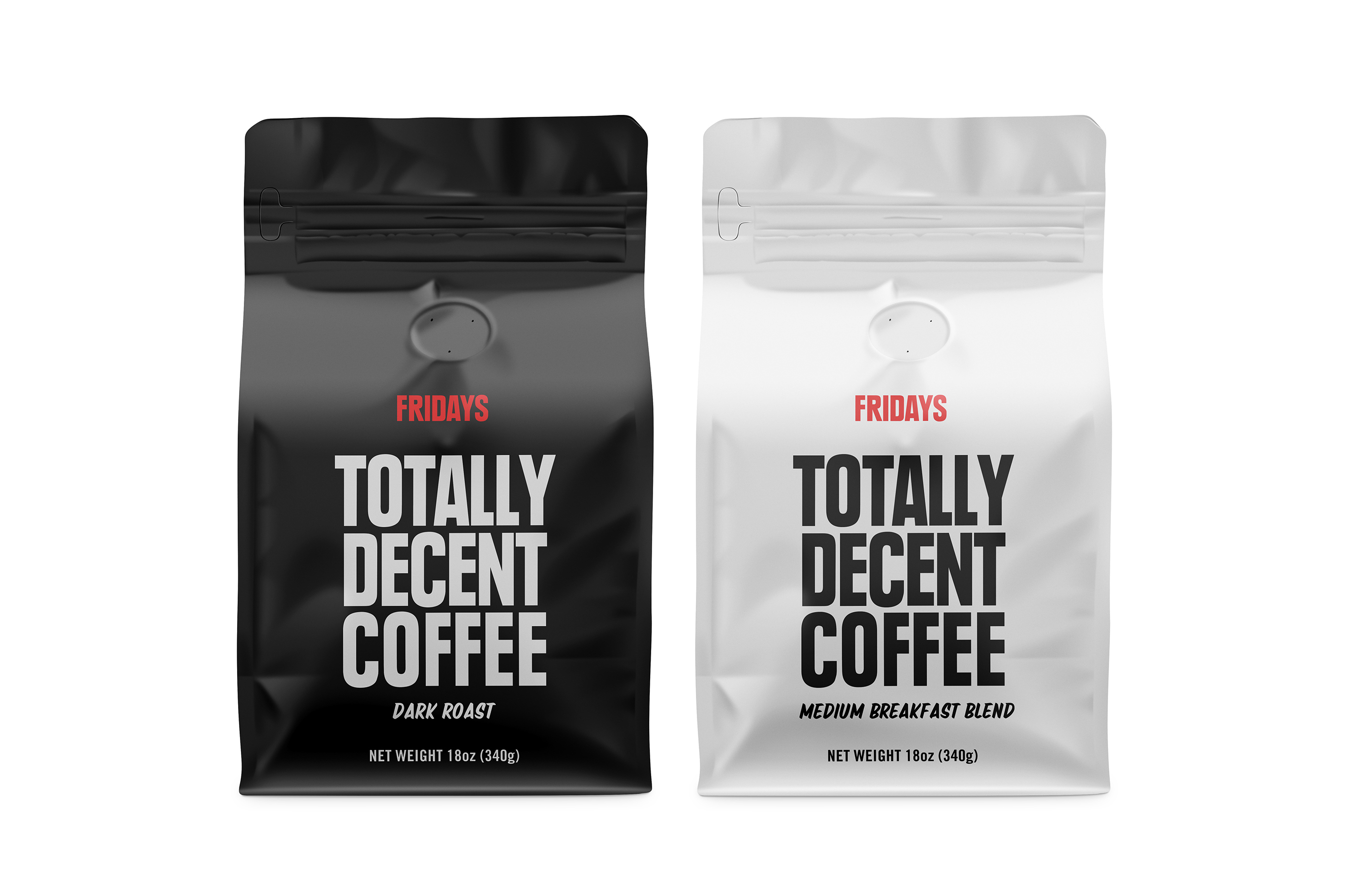 Fridays Totally Decent Coffee Packaging